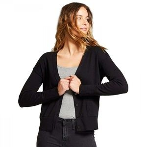 Womens Any Day V-Neck Cardigan Sweater Black Large